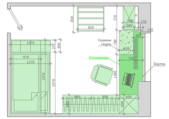 Голубая мебель в комнату мальчика проект 3867-9