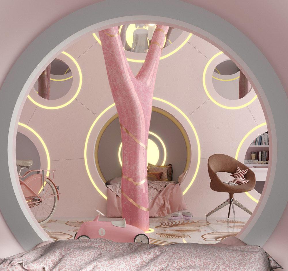 Идеи детских комнат для двоих девочек в розовых тонах 1