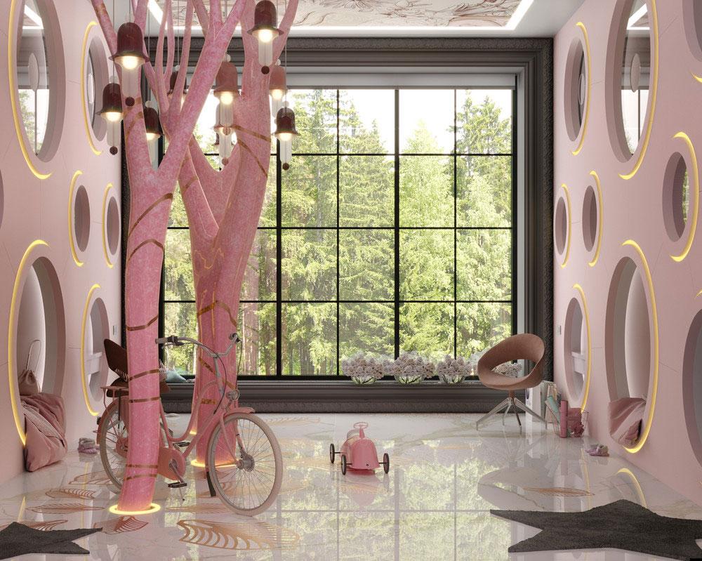 Идеи детских комнат для двоих девочек в розовых тонах 2