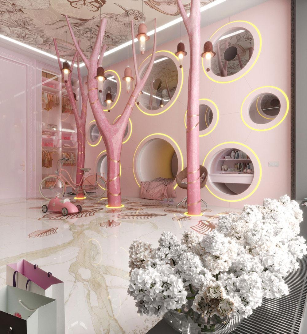 Идеи детских комнат для двоих девочек в розовых тонах 3