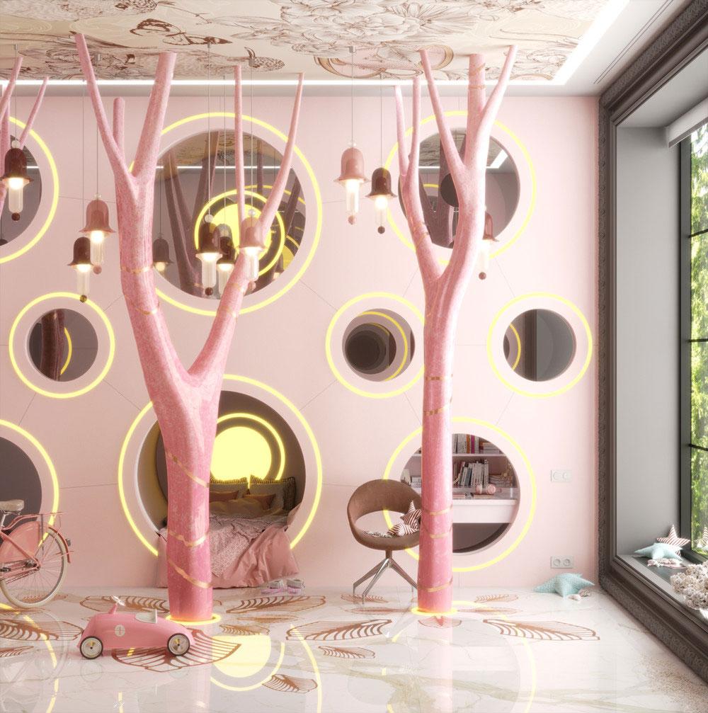 Идеи детских комнат для двоих девочек в розовых тонах 4