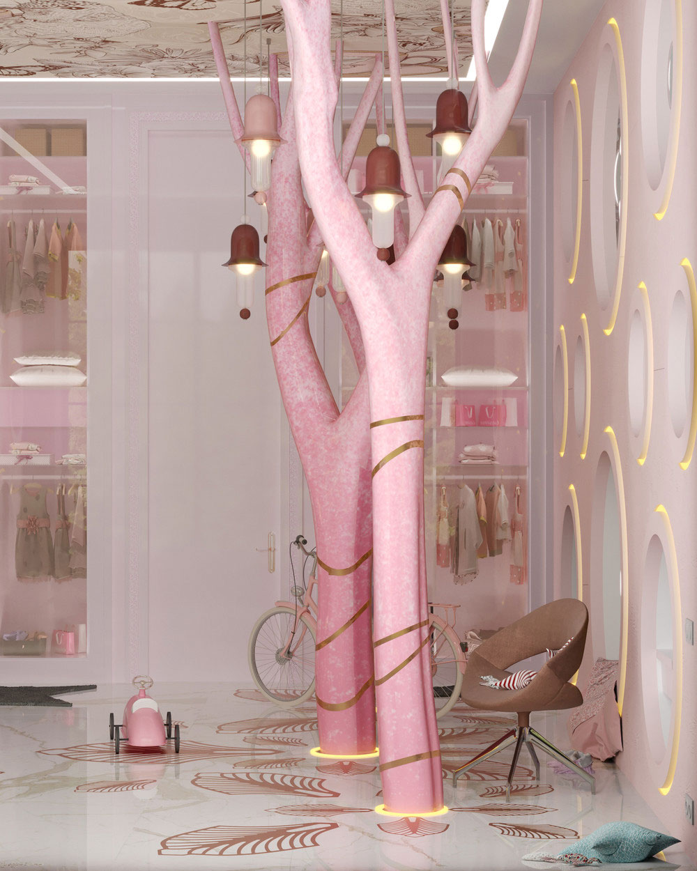 Идеи детских комнат для двоих девочек в розовых тонах 5