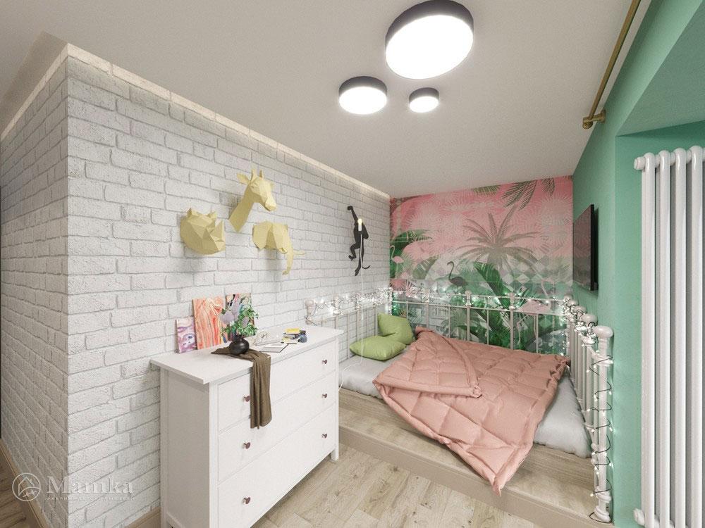 Идеи детской комнаты для девочки с практичным разделением площади 1