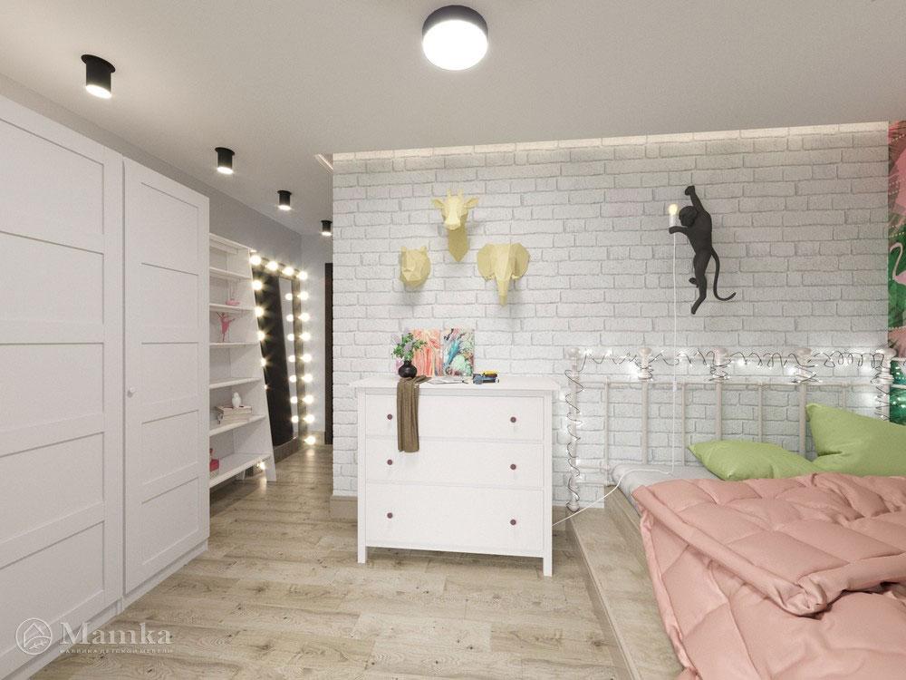 Идеи детской комнаты для девочки с практичным разделением площади 2