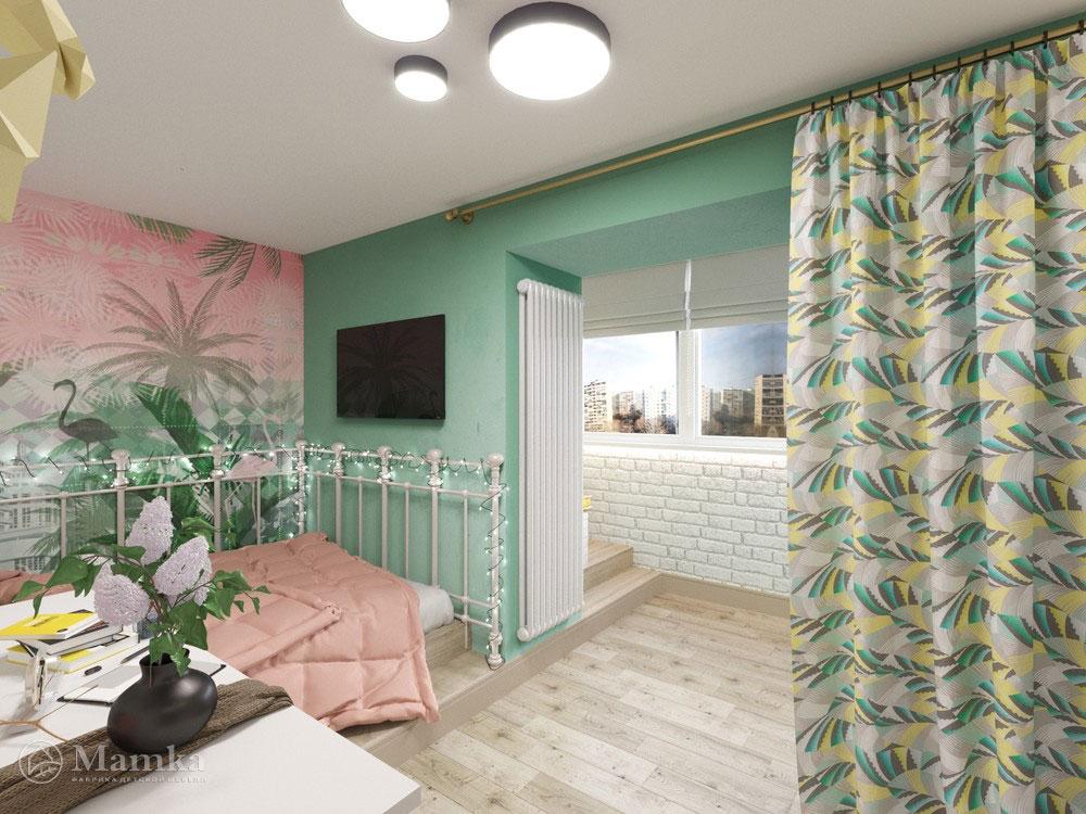 Идеи детской комнаты для девочки с практичным разделением площади 3