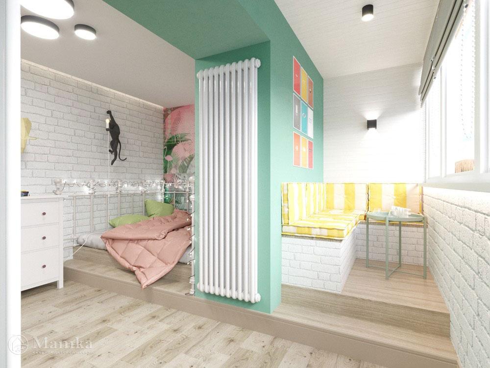 Идеи детской комнаты для девочки с практичным разделением площади 4