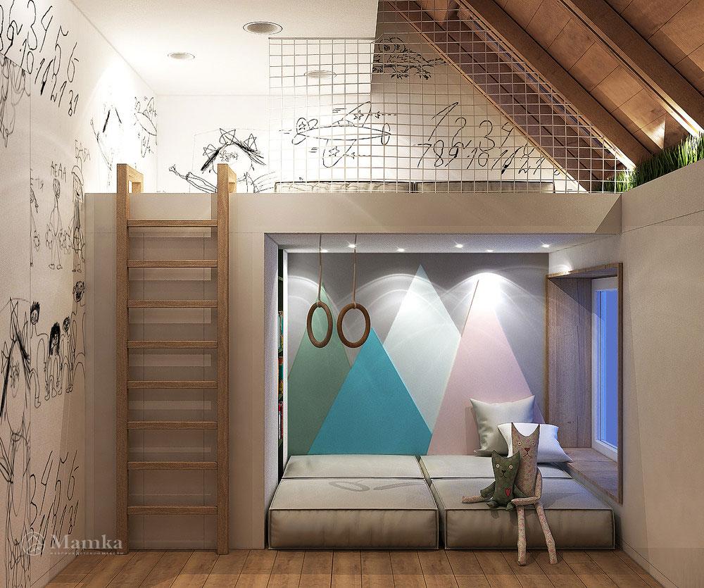 Идеи интерьера детской комнаты с удобным разграничением пространства 2