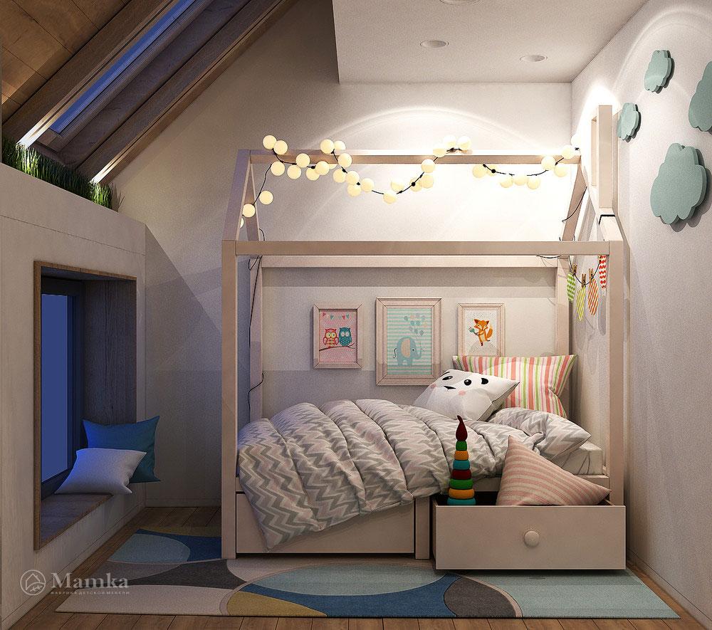 Идеи интерьера детской комнаты с удобным разграничением пространства 3