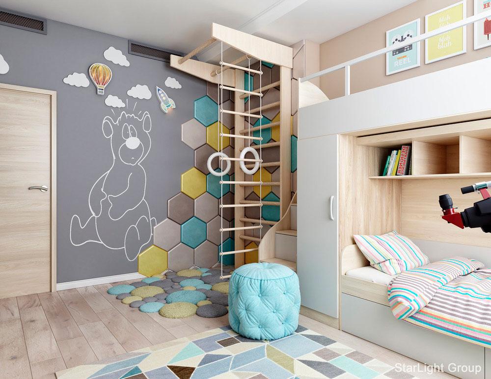 Идея детской для двух мальчиков с ярким комфортным интерьером 1