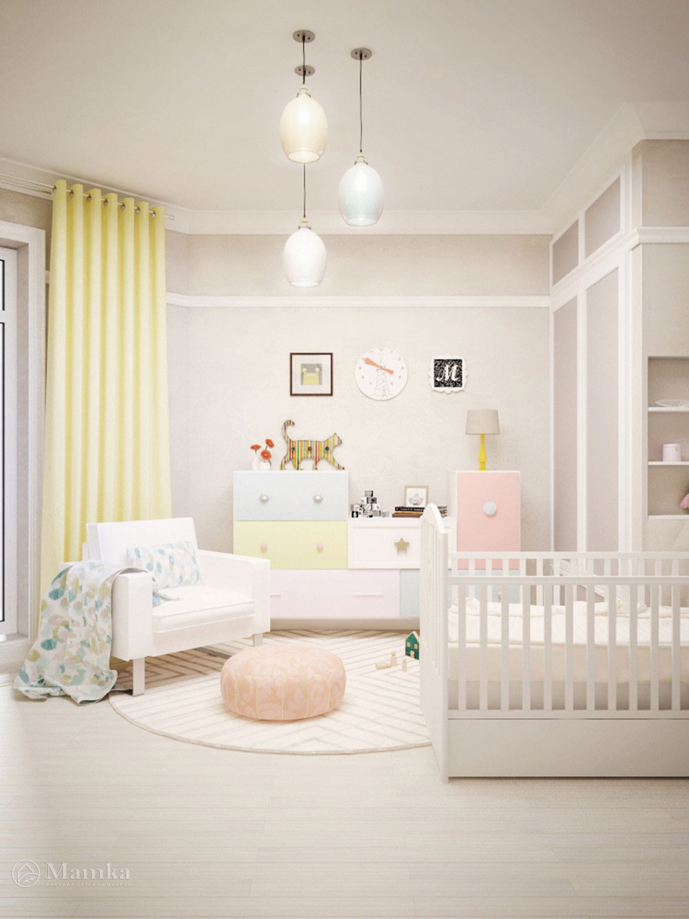 Идея для детской с минималистическим декором 3