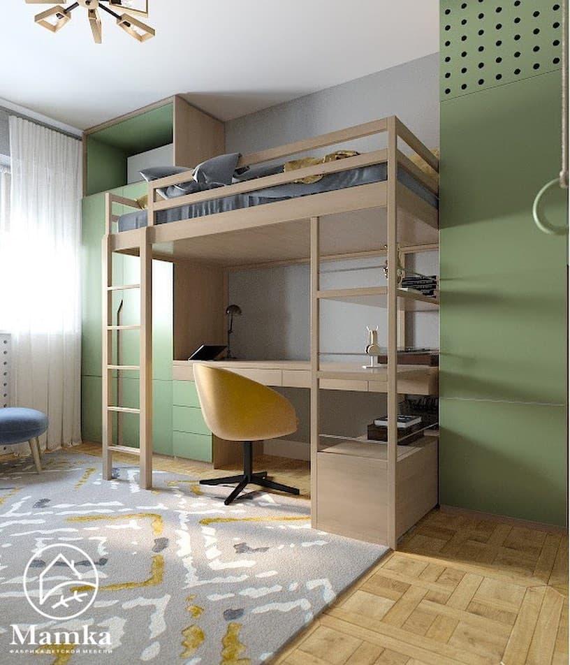 Интерьер детской комнаты для 2 мальчиков в бежево-зеленых тонах 1