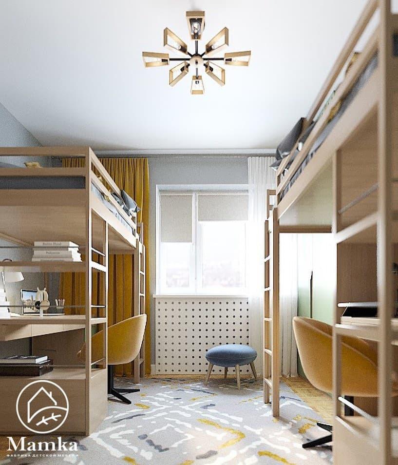 Интерьер детской комнаты для 2 мальчиков в бежево-зеленых тонах 2