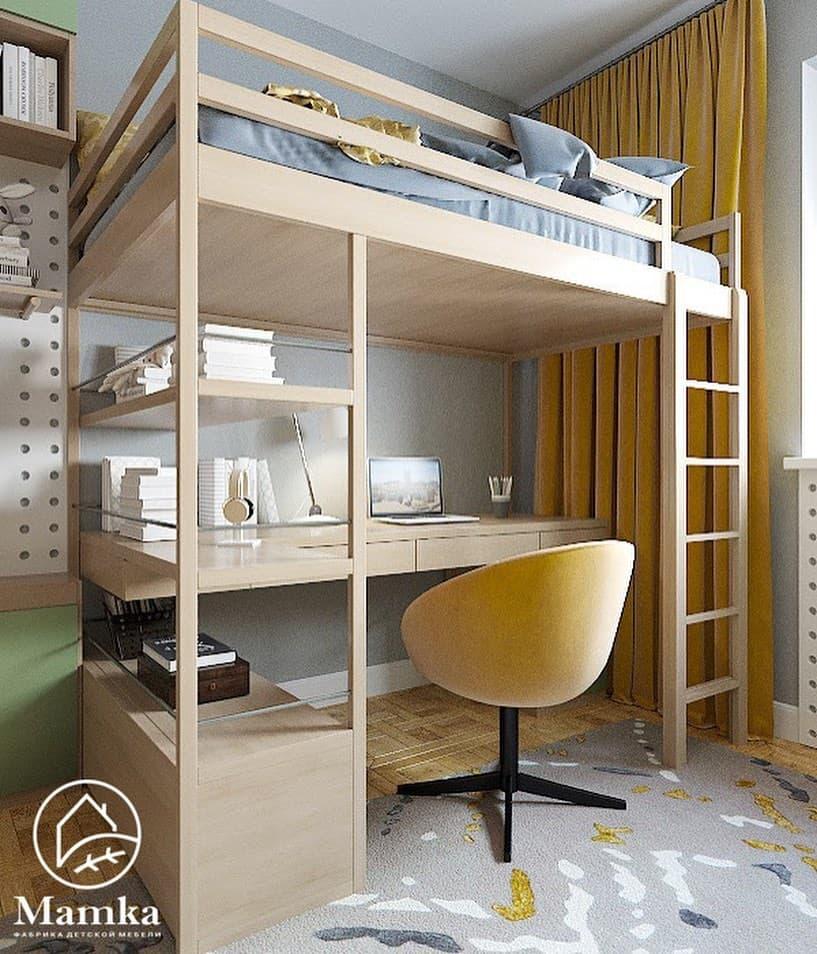 Интерьер детской комнаты для 2 мальчиков в бежево-зеленых тонах 3