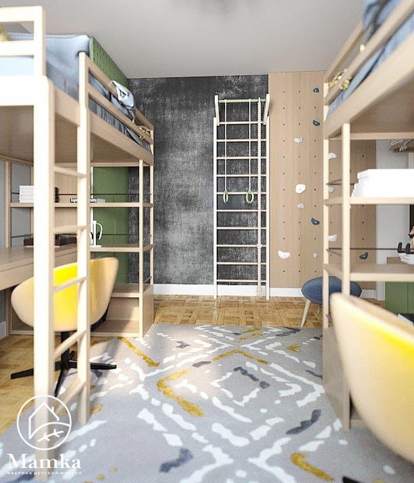 Интерьер детской комнаты для 2 мальчиков в бежево-зеленых тонах 4