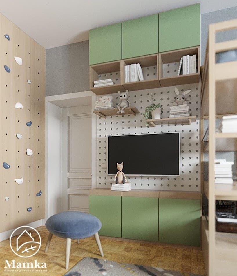 Интерьер детской комнаты для 2 мальчиков в бежево-зеленых тонах 5
