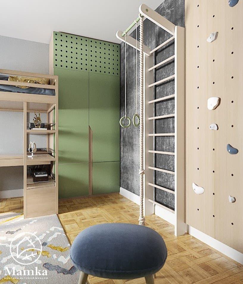 Интерьер детской комнаты для 2 мальчиков в бежево-зеленых тонах 6