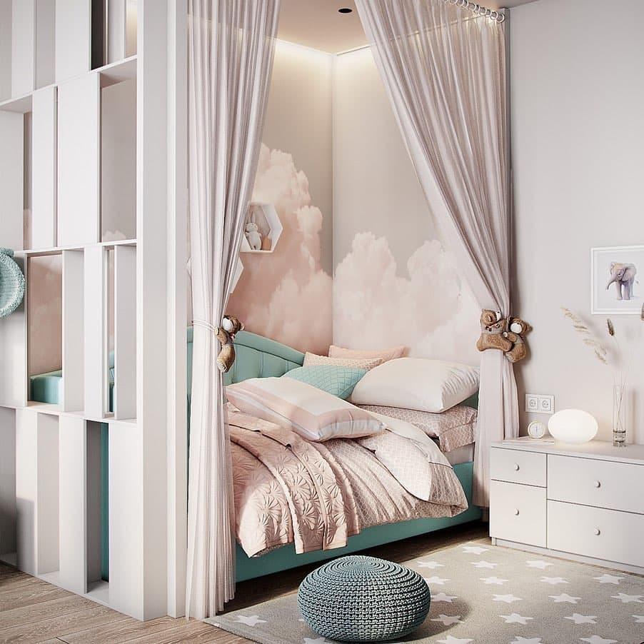 Интерьер детской комнаты для девочки в нежных тонах 2