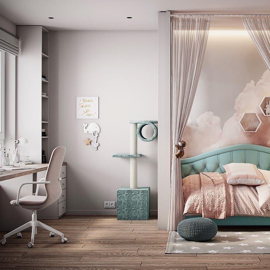 Интерьер детской комнаты для девочки в нежных тонах 3