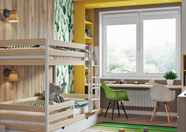Интерьер детской комнаты в светлых тонах для 2 маленьких девочек 2