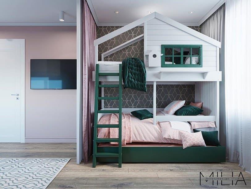 Интерьер общей комнаты для 2 взрослых и 3 детей 1
