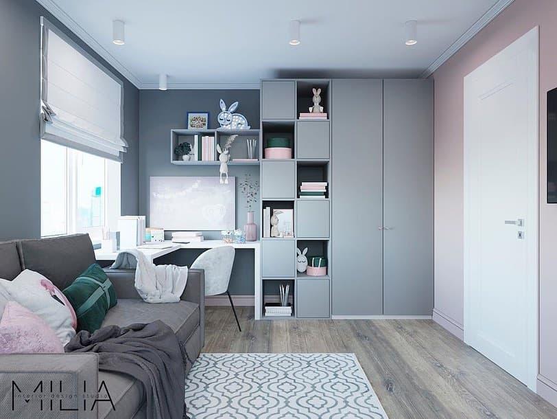 Интерьер общей комнаты для 2 взрослых и 3 детей 3