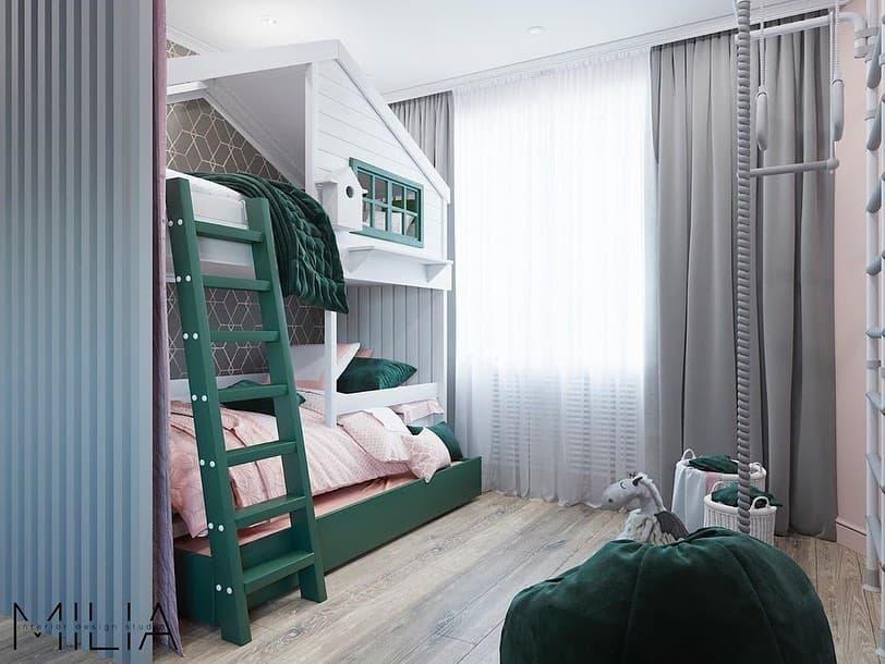 Интерьер общей комнаты для 2 взрослых и 3 детей 4
