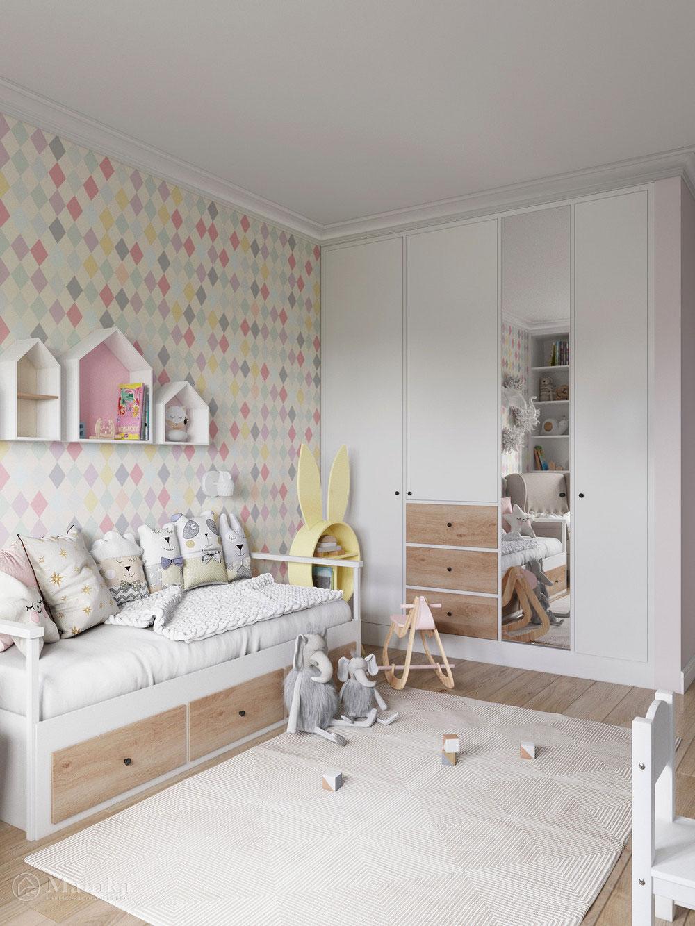 Дизайн маленькой детской для девочки