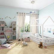 Кровать домик с манежными стенками
