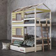2 ярусная кровать домик для 2 детей Твин Ромашка фото