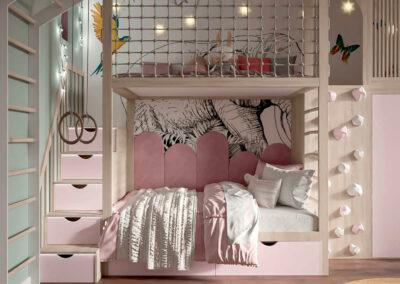 Розовая мебель детской комнаты для девочки — проект 4005