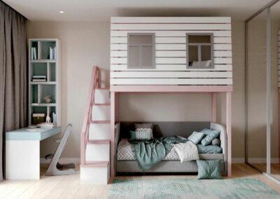 Мебель в розово-голубых оттенках для детской комнаты девочки — проект 4011