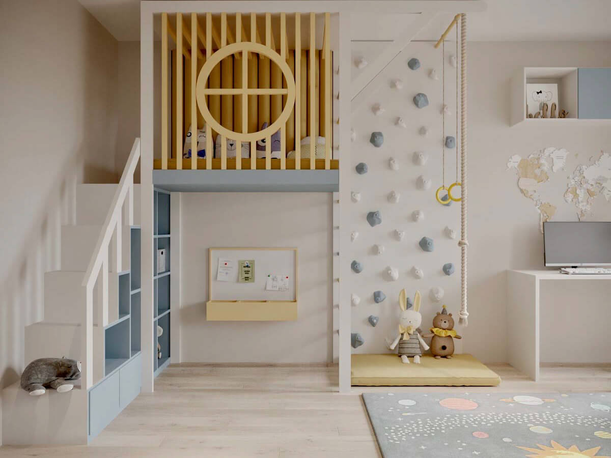 Мебель детской для мальчика-дошкольника проект 3947-1