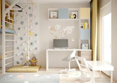 Мебель детской комнаты для мальчика-дошкольника — проект 3947