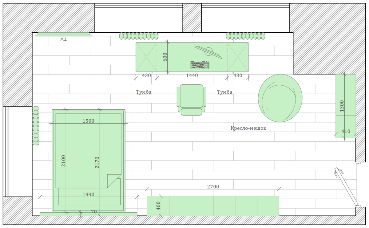 Мебель детской для мальчика-подростка проект 3141-4