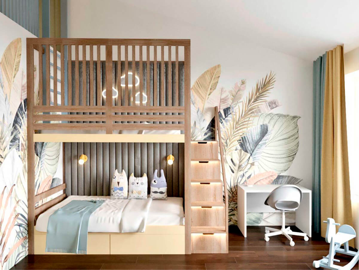 Мебель детской для разнополых детей проект 3985-1
