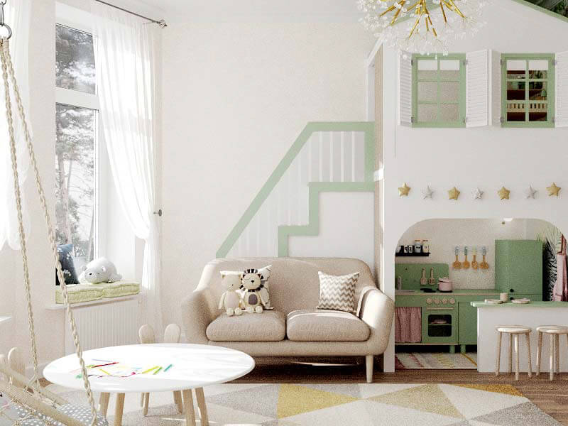 Мебель детской комнаты 2 девочек проект 5435-1