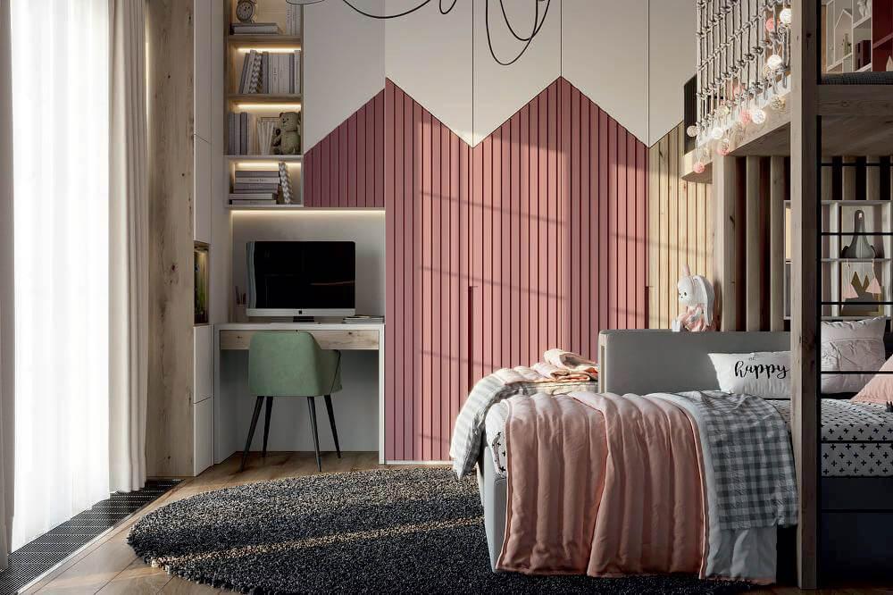 Мебель детской комнаты 2 девочек-школьниц проект 4049-4-1