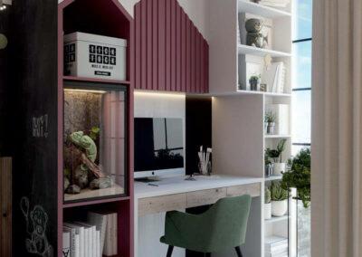 Мебель детской комнаты для двух девочек-школьниц — проект 4049-4