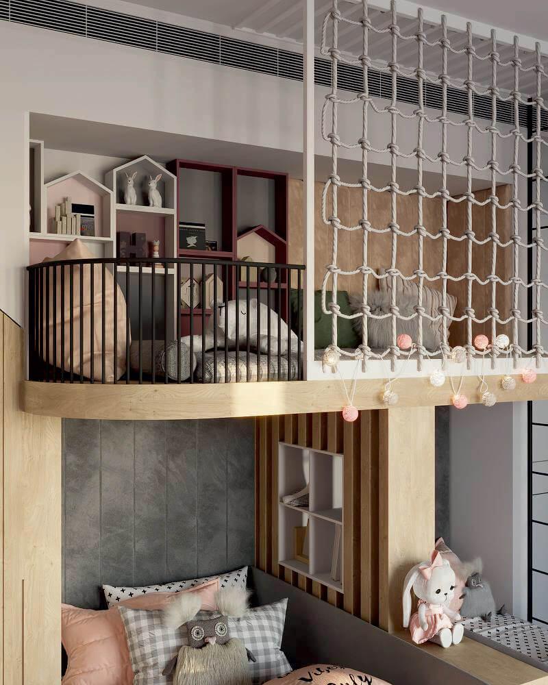 Мебель детской комнаты 2 девочек-школьниц проект 4049-4-5