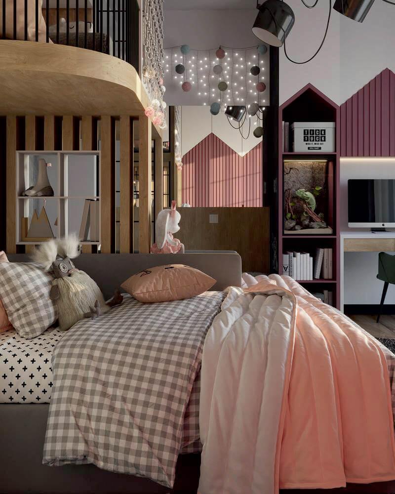 Мебель детской комнаты 2 девочек-школьниц проект 4049-4-6