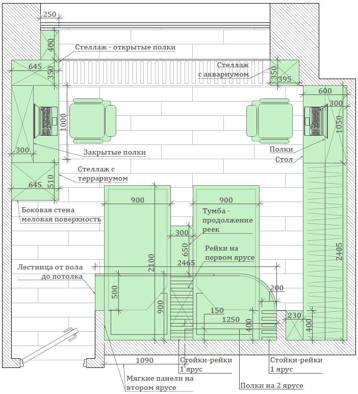 Мебель детской комнаты 2 девочек-школьниц проект 4049-4-7