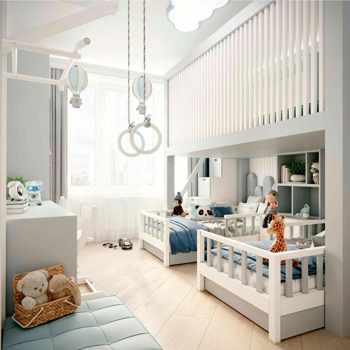 Мебель детской комнаты 2 мальчиков проект 5063-1