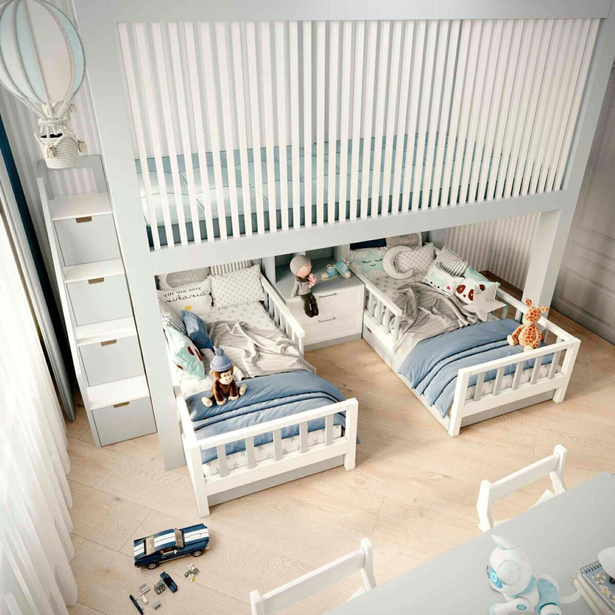 Мебель детской комнаты 2 мальчиков проект 5063-5