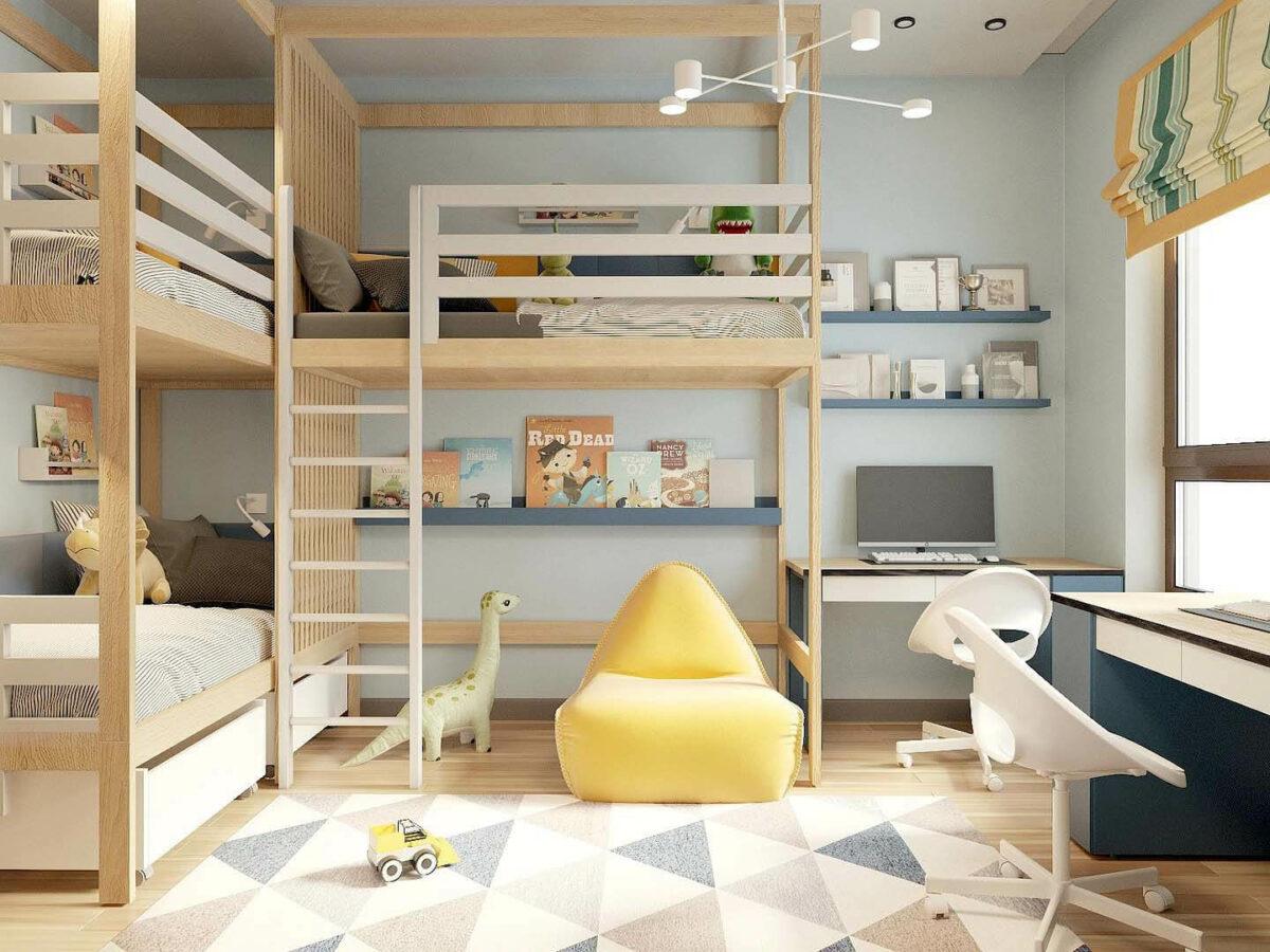 Мебель детской комнаты 3 мальчиков проект 5377-1