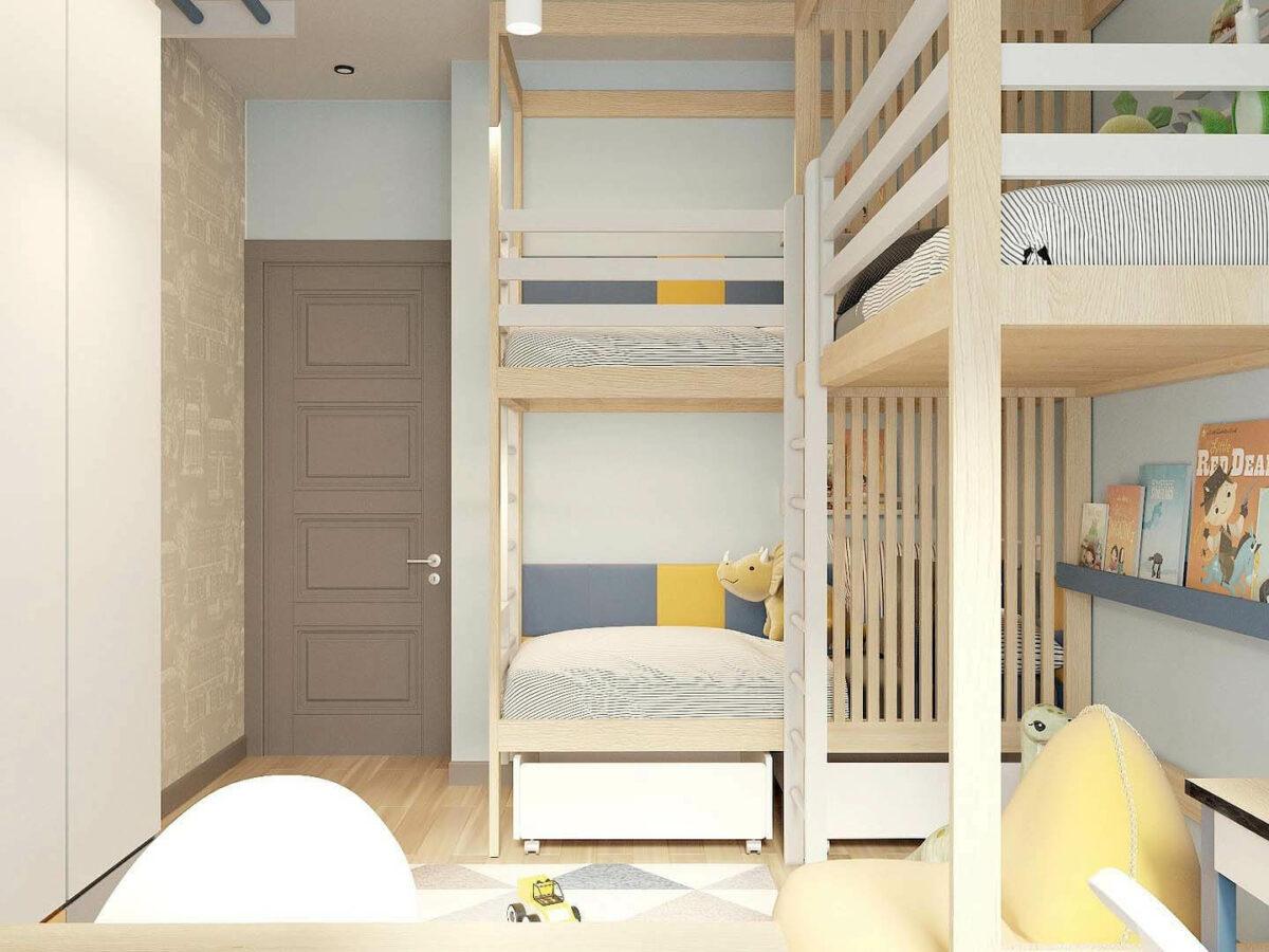 Мебель детской комнаты 3 мальчиков проект 5377-3