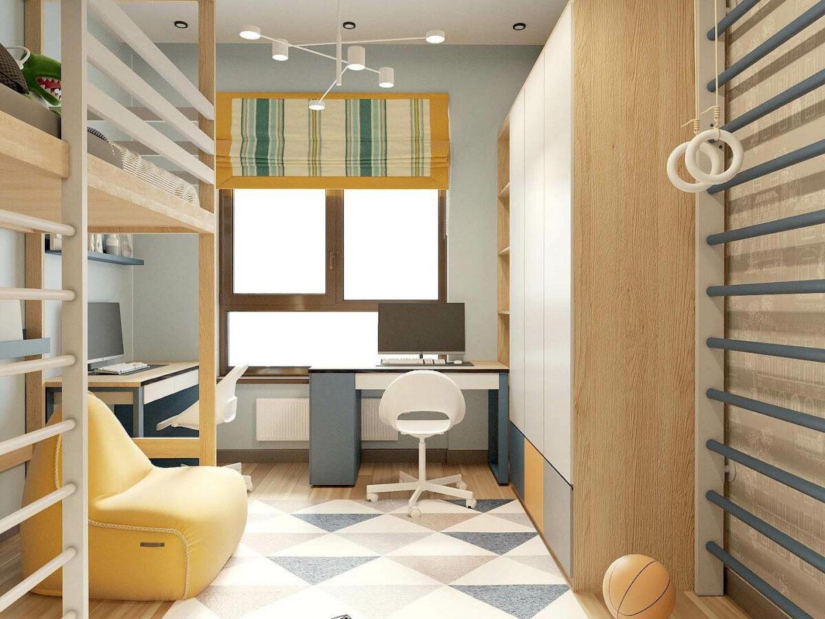 Мебель детской комнаты 3 мальчиков проект 5377-4