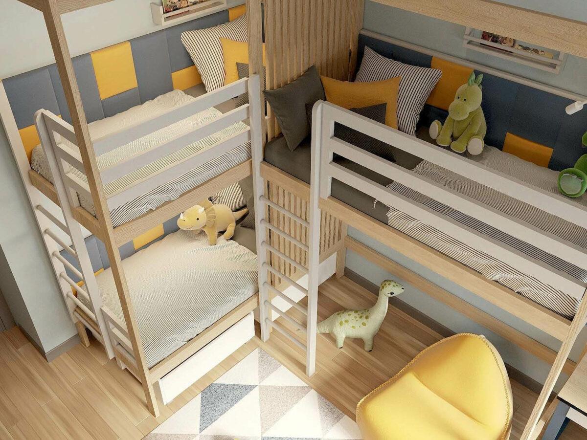 Мебель детской комнаты 3 мальчиков проект 5377-5