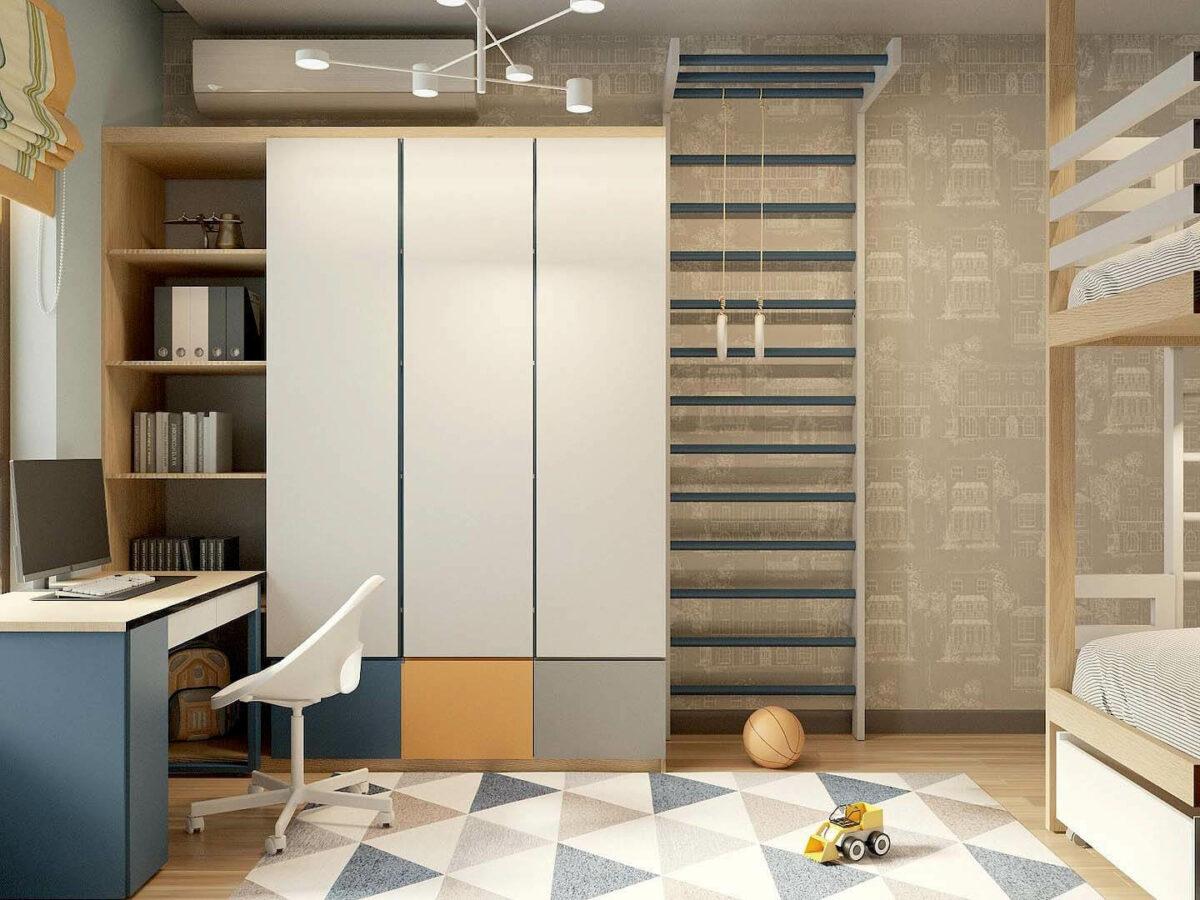 Мебель детской комнаты 3 мальчиков проект 5377-6