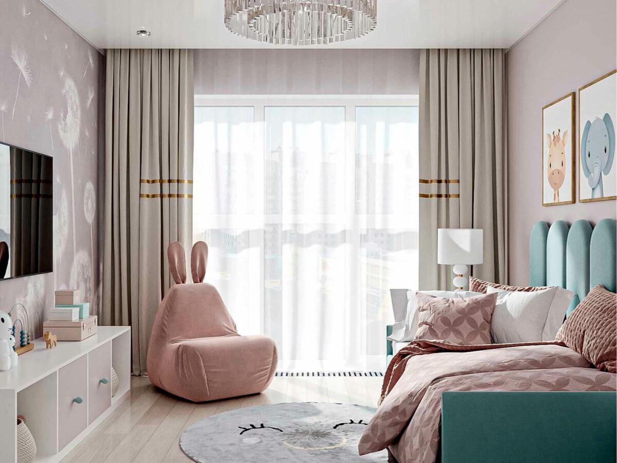 Мебель детской комнаты девочки 1-6 лет проект 5773-1