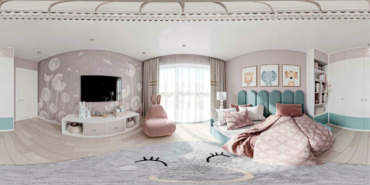 Мебель детской комнаты девочки 1-6 лет проект 5773-7